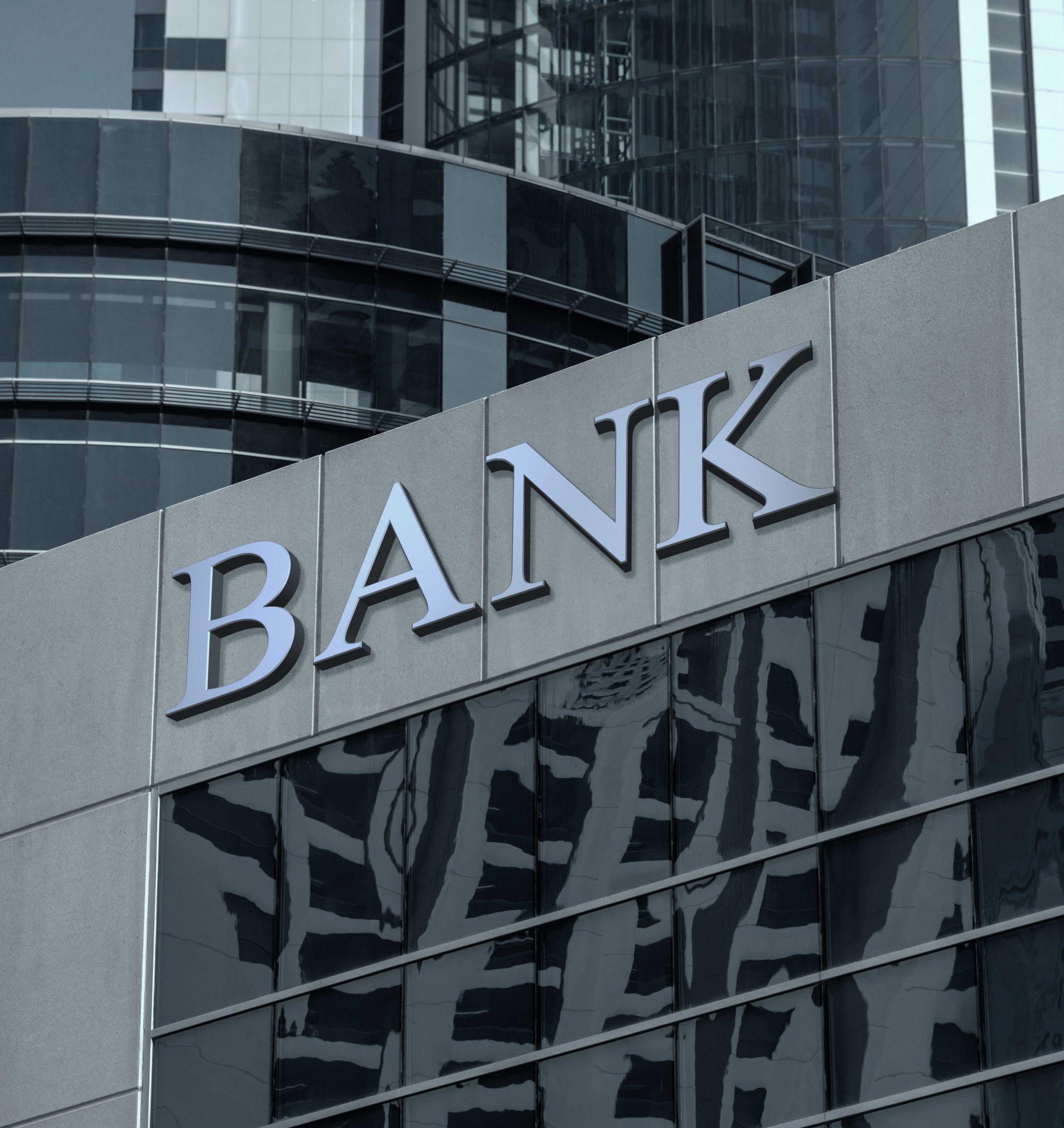 batiment banque bleu gris